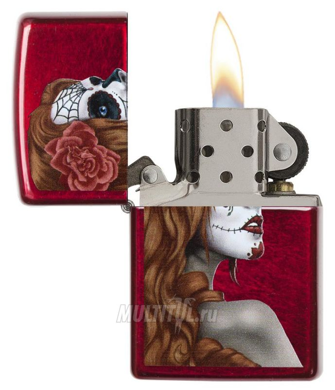 Zippo 28830 Day of the Dead Girl Candy Apple Red — Зажигалка бензиновая Zippo 28830